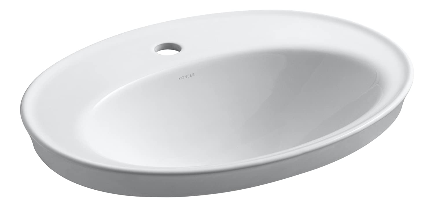 27 x 20.75 x 10.75 inches White Kohler 2075-1-0 Vitreous china Drop-In Oval Bathroom Sink