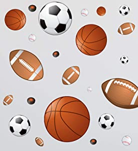 Sports Wall Decor for Boys Room ~Boys Room Decor Stickers, Soccer Baseball Football Hockey Basketball Wall Art for Boys Room Playroom Kids Room Wall Decor