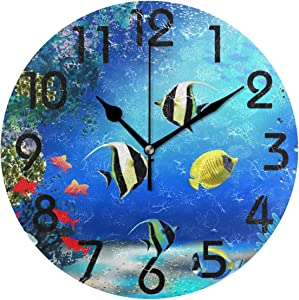 Naanle 3D Stylish Underwater World with Fish and Plants Print Round Wall Clock Decorative, 9.5 Inch Battery Operated Quartz Analog Quiet Desk Clock for Home,Office,School