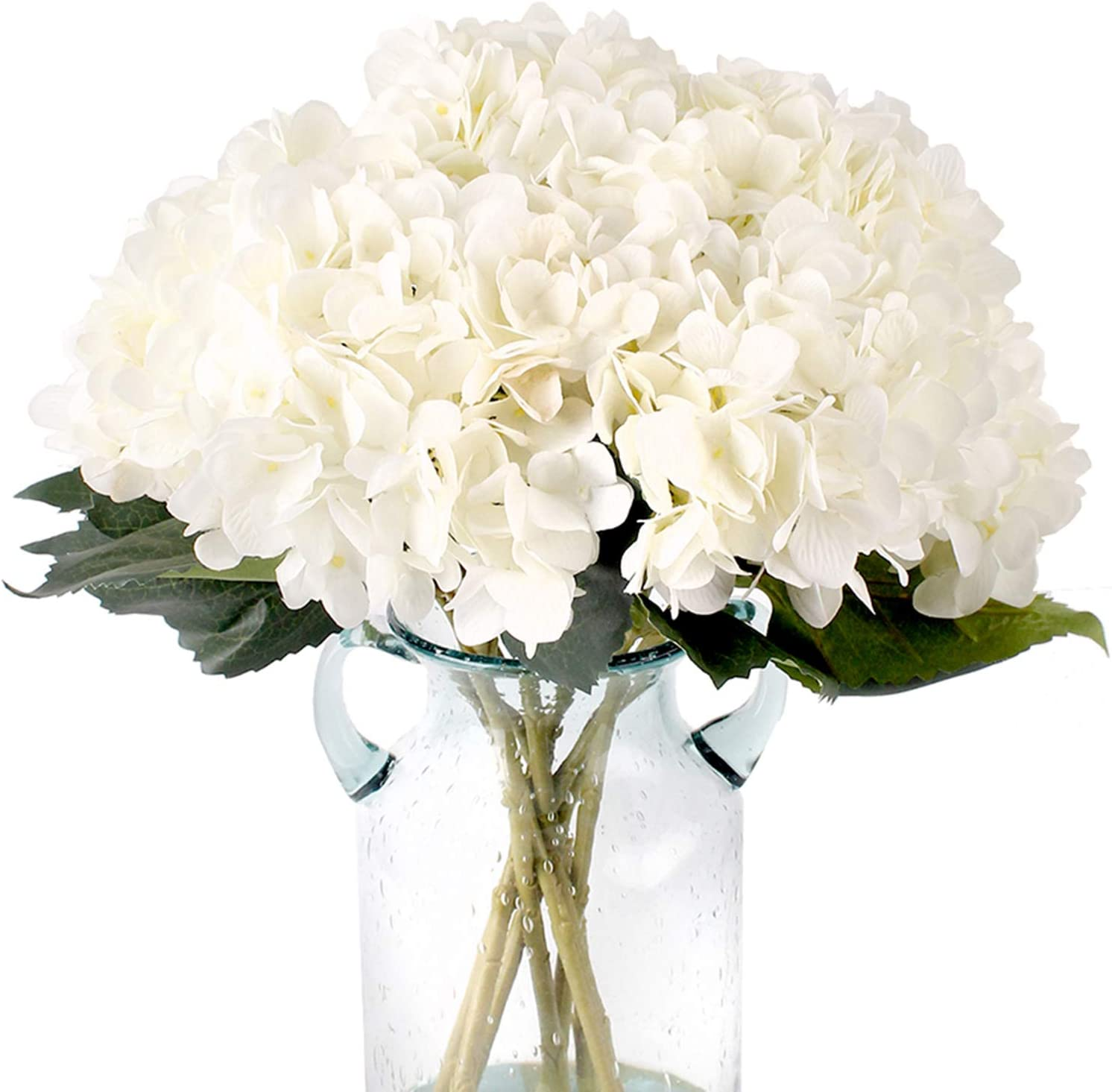Fake White Flowers Artificial Silk Hydrangea Flowers Bouquets Faux Hydrangea Stems 3Pcs for Home Table Centerpieces Wedding Party Decoration (White)