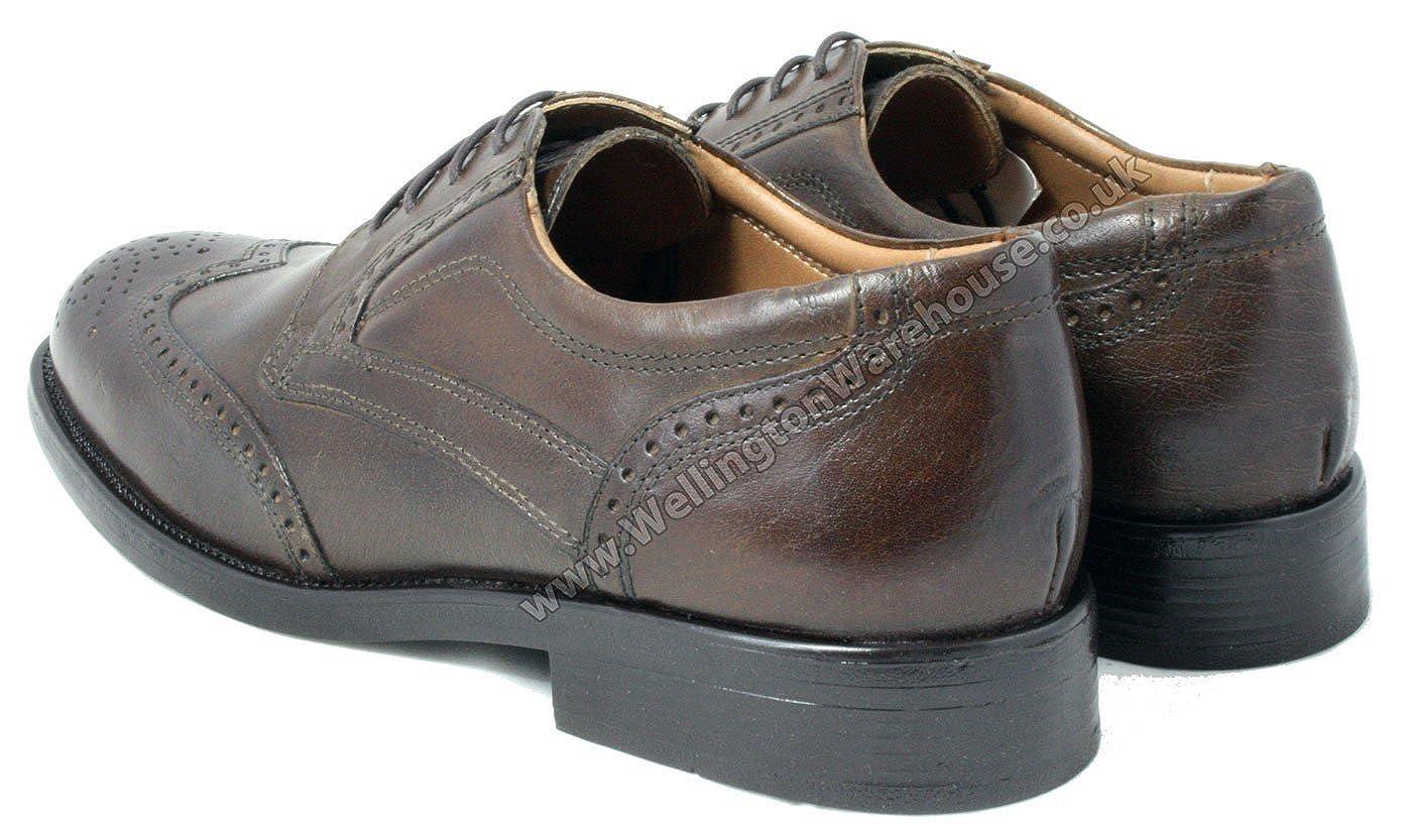 Oaktrak Pinham Black Brown or Castagnia Leather Brogue Oxford Work Mens Shoes