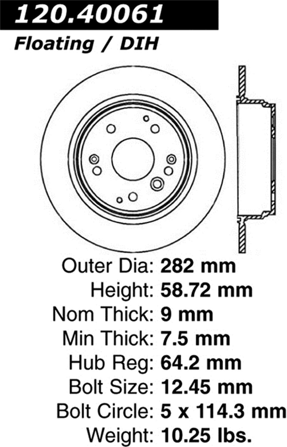 1 Pack StopTech 127.40065L Sport Drilled//Slotted Brake Rotor Rear Left