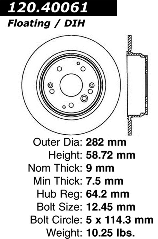 StopTech 128.40061L Sport Cross Drilled Brake Rotor 1 Pack Rear Left