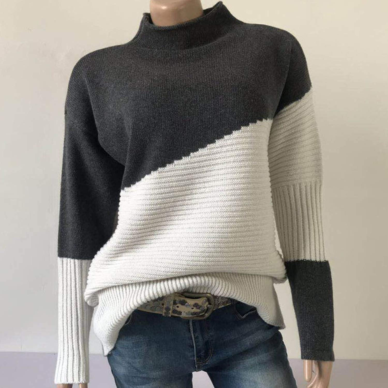 PearlMilkTea001 Patchwork Turtleneck Pullover Women Knitwear Autumn Winter Sweaters Pullovers Knitted Jumper