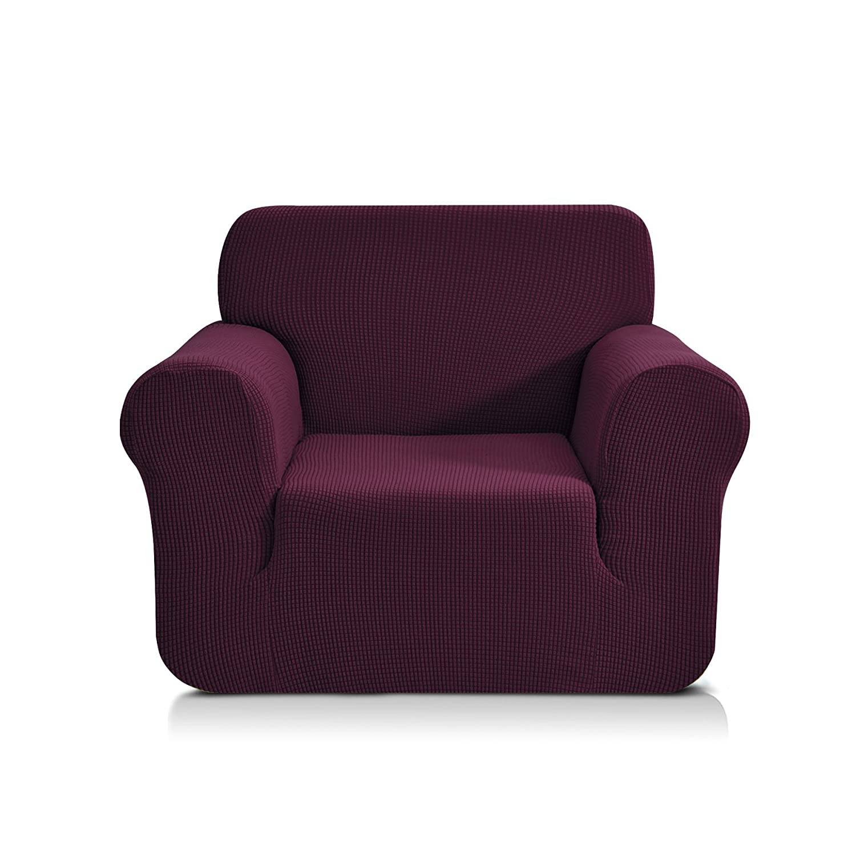 (Chair, Dark Magenta) - CHUN YI Jacquard Sofa Covers 1-Piece Polyester Spandex Fabric Slipcover (Chair, Dark Magenta) B072QW1545 Chair