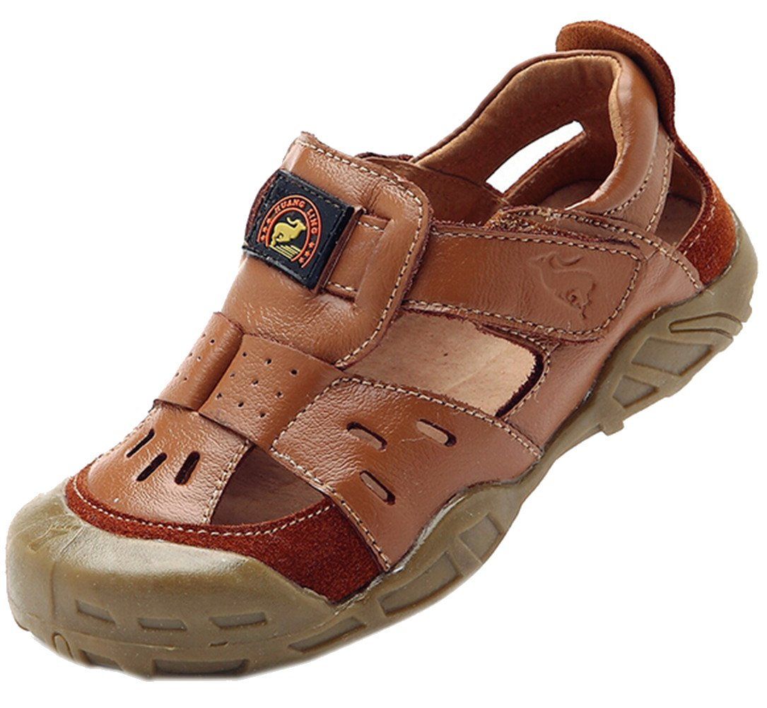 DADAWEN Boys & Girls Summer Outdoor Athletic Leather Closed-Toe Spoort Sandals (Toddler/Little Kid/Big Kid) Brown US Size 9 M Toddler