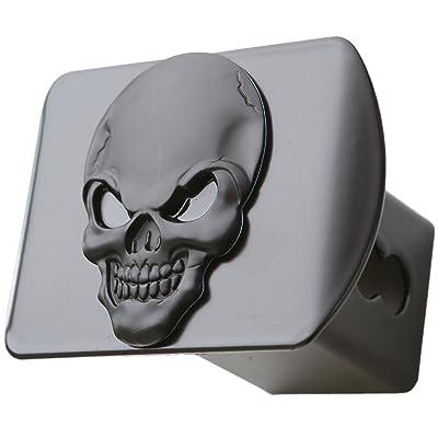 "LFPartS 100% Metal Skull 3D Emblem Trailer Hitch Cover Fits 2"" Receivers (Black on Black): Automotive"