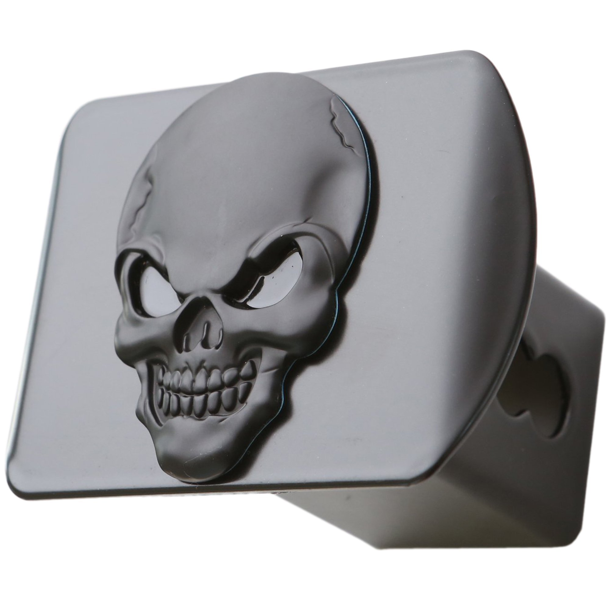 LFPartS 100% Metal Skull 3D Emblem Trailer Hitch Cover Fits 2'' Receivers (Black on Black) by LFPartS