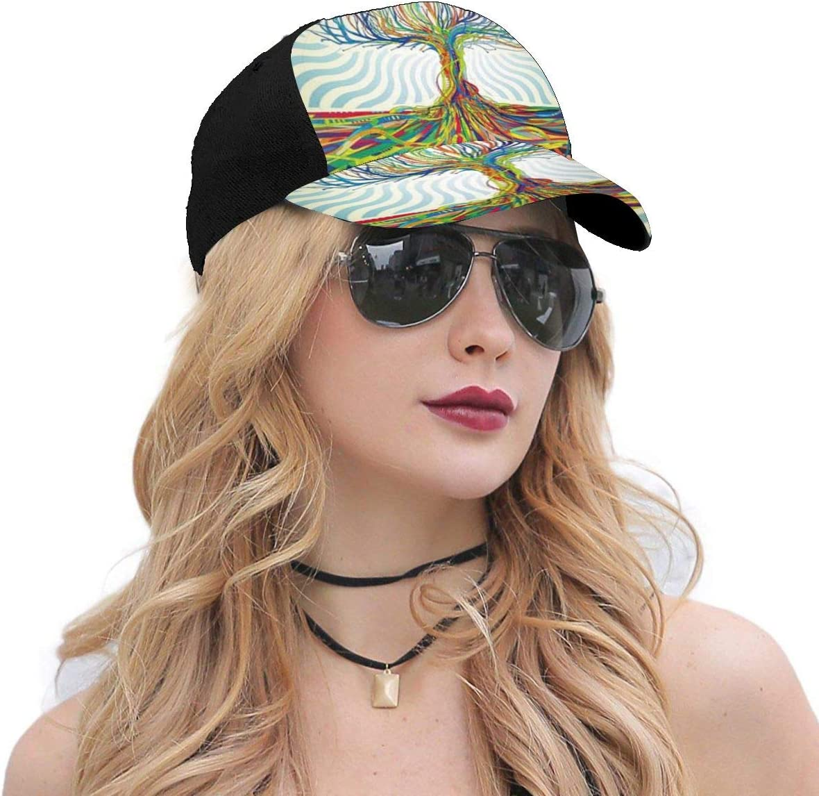 Red Psychedelic Trippy Art Logo Summer Baseball Caps for Men and Women with Adjustable Snapback Strap