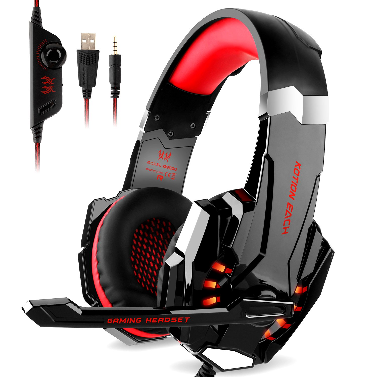 DIZA100 Kotion Each G9000 Gaming Headset Headphone 3.5mm Stereo Jack with Mic LED Light for Xbox One S/Xbox one/PS4/Tablet/Laptop/Cell Phone-Black&Red
