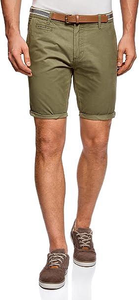 oodji Ultra Hombre Pantalón Corto de Algodón con Cinturón ...