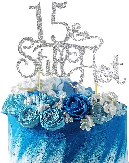 Surprising Amazon Com Grantparty Glitter Silver 15Still Hot Cake Topper Funny Birthday Cards Online Elaedamsfinfo