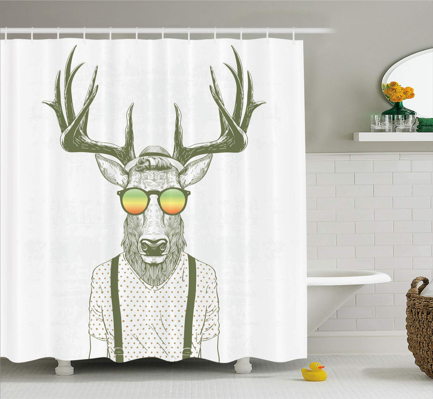 Illustration of Deer Dressed up Like Cool Hipster Fashion Creative Fun Animal Cloth Fabric Bathroom Decor Set with Hooks 70 Long Ambesonne Antlers Shower Curtain Army Orange