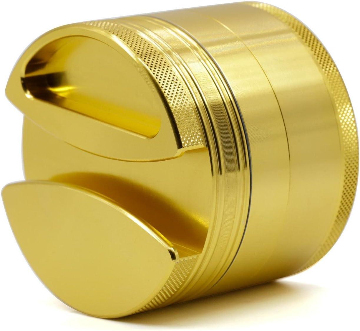 BBYaki Advanced Tobacco / Perfumer Grinder-75 * 60Mm, Molinillo De Aleación De Aluminio De 4 Partes, 6 Colores, Fácil De Transportar , Gold