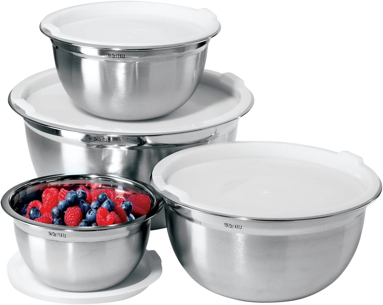 Oggi 7294 Stainless Steel 8-Piece Mixing Bowl Set with Lids