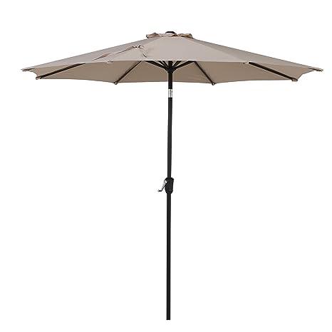 Grand Patio 9FT, 8 Ribs Aluminum Patio Umbrella With Auto Crank And Push  Button Tilt