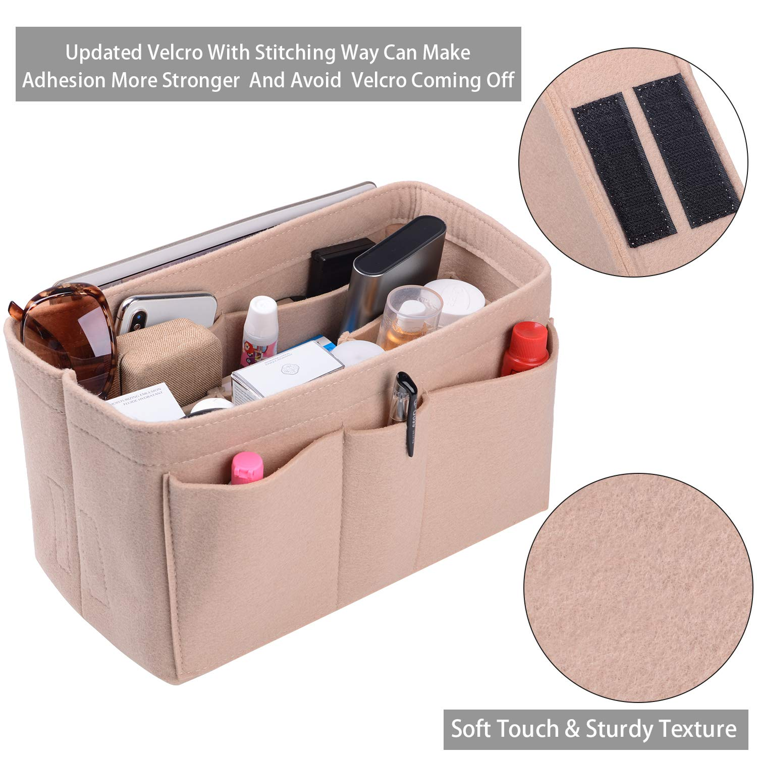 Felt(3MM) Fabric Purse Organizer Insert for Purse Handbag Tote Bag, 3 Sizes, 8 Colors
