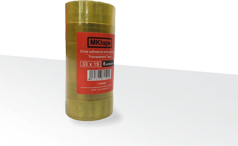Mktape MK402141 - Pack 6 cintas adhesivas, 33 m x 19 mm