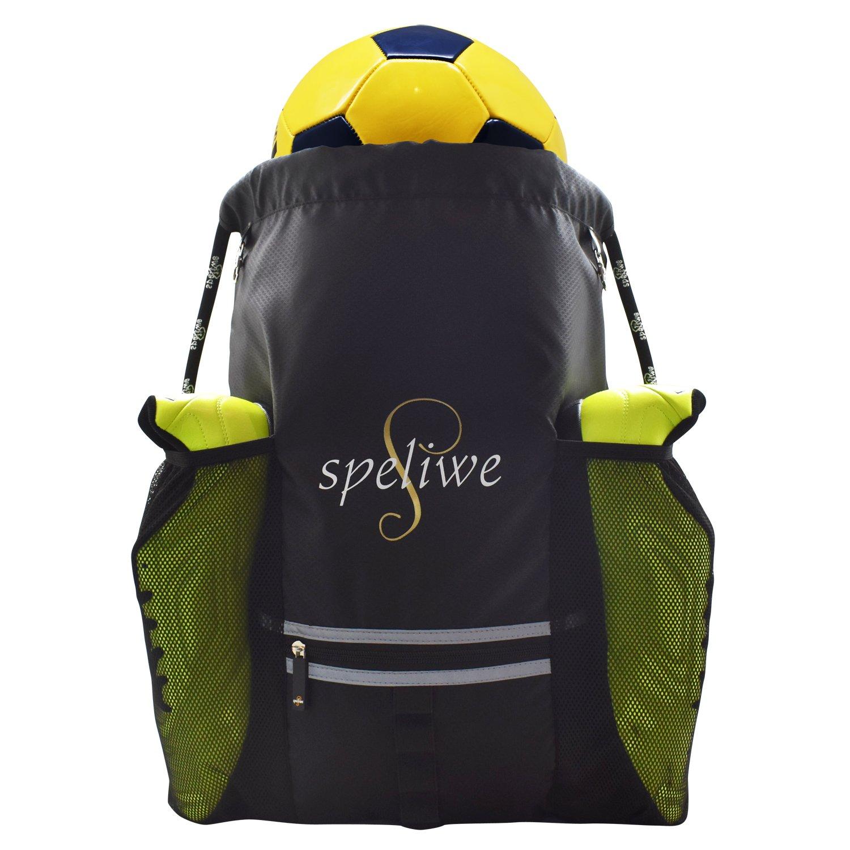speliweサッカーバッグ、バスケットボール、バレーボールバッグ、防水バックパックDrawstring Sackpackバッグユース、キッズ、ガールズ、ボーイズ、メンズ&レディース B07CMPLWBD