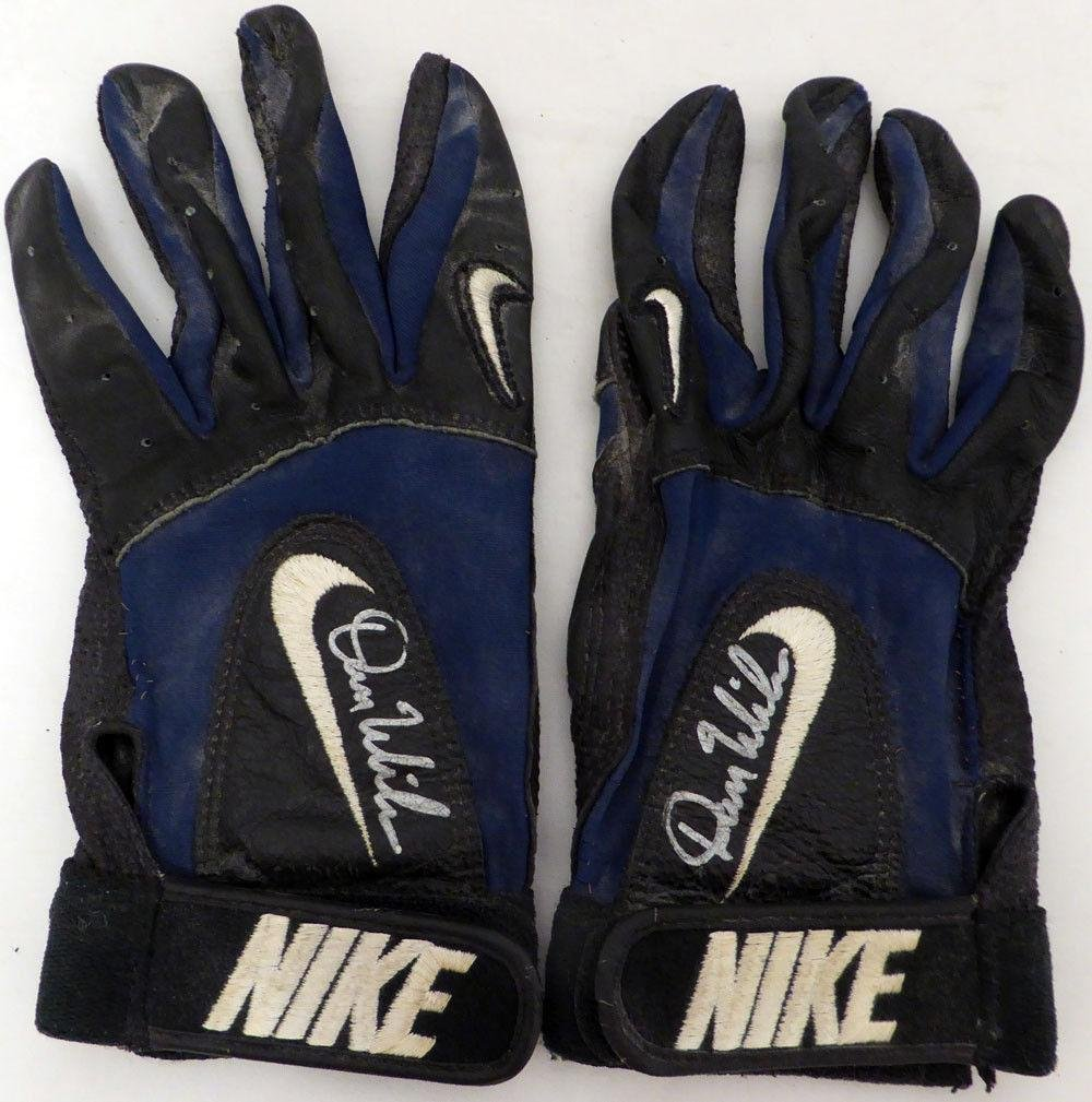 Dan Wilson Autographed Signed Game Used Nike Mariners Batting Gloves SKU #131867 MLB Game Used Gloves