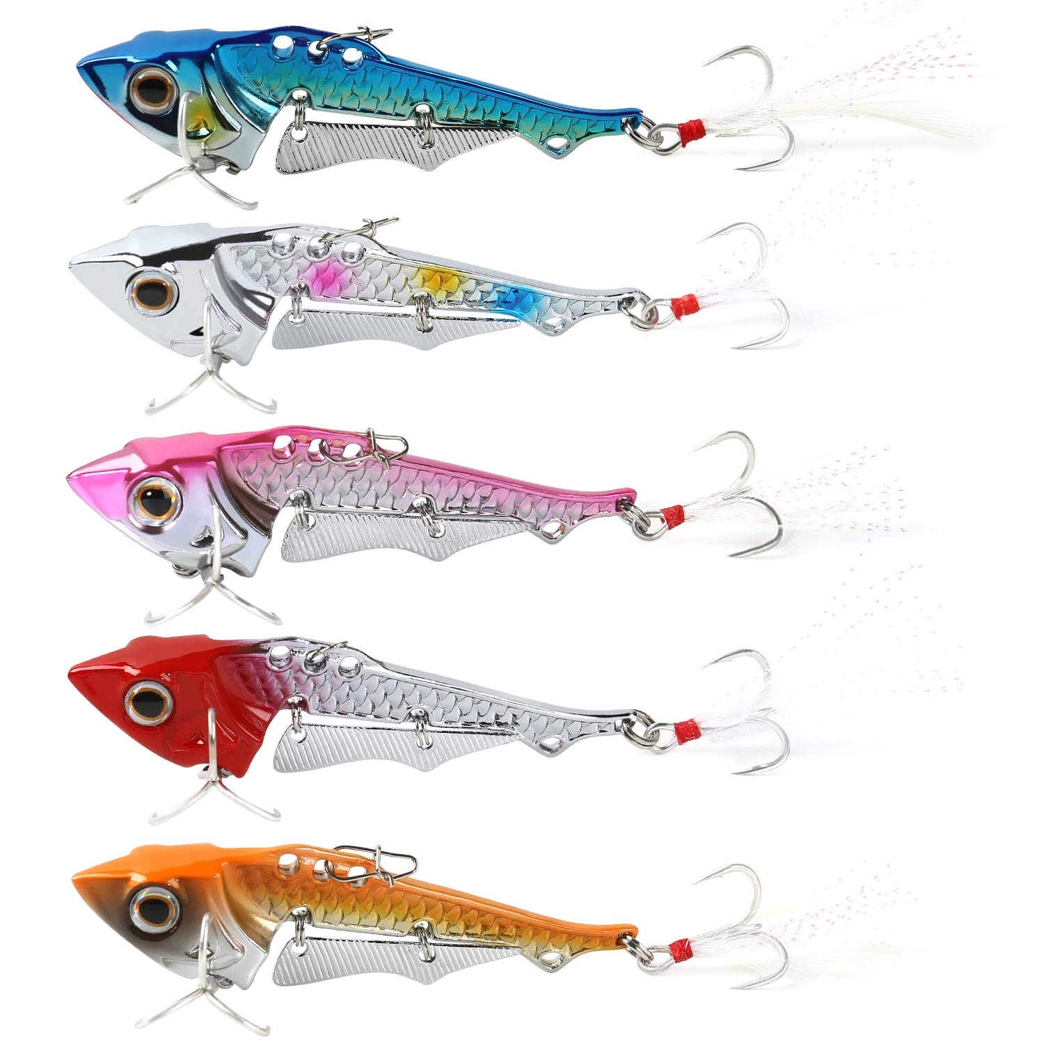 YONGZHI Fishing Lures Metal VIB Hard Spinner Blade Baits with Feathers Treble Hooks for Bass Walleyes Trout Fishing Spoons-40G by YONGZHI