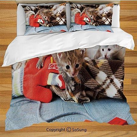 Juego de funda nórdica para gatos, ropa de cama, gatitos y mitones ...