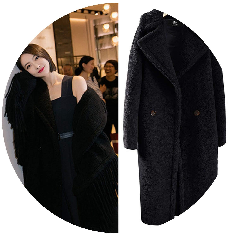 Black Welcometoo 2019 Winter Thick Warm Long Teddy Trench Coat Women Lamb fur Wool Loose Fluffy Jacket fur Coat