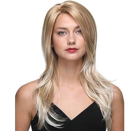 Pelucas de onda sedosa para mujer Blonde 24 pulgadas Peluca natural superior sintética 180 ℃ Extensiones