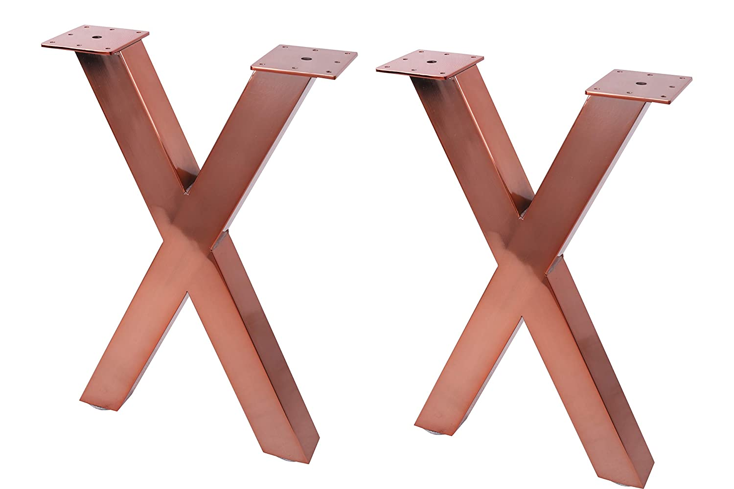 Eclv 18 dining bench legs x shaped steel table legs coffee table legs computer desk legs industrial kitchen table legs set of 2 black copper