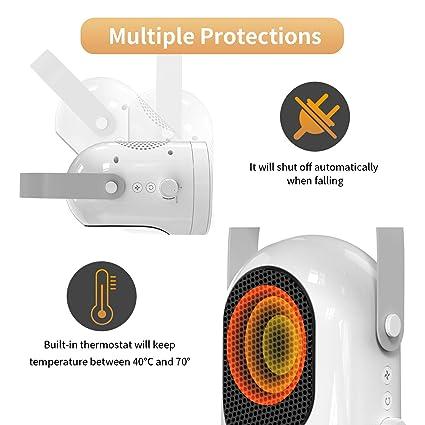 PAVLIT Calefactor Eléctrico Cerámico, Modo Calefacción y Modo Ventilador, 2 Niveles de Calentar, Ventilador Oscilante, 600W, Termoventilador Portátil para ...