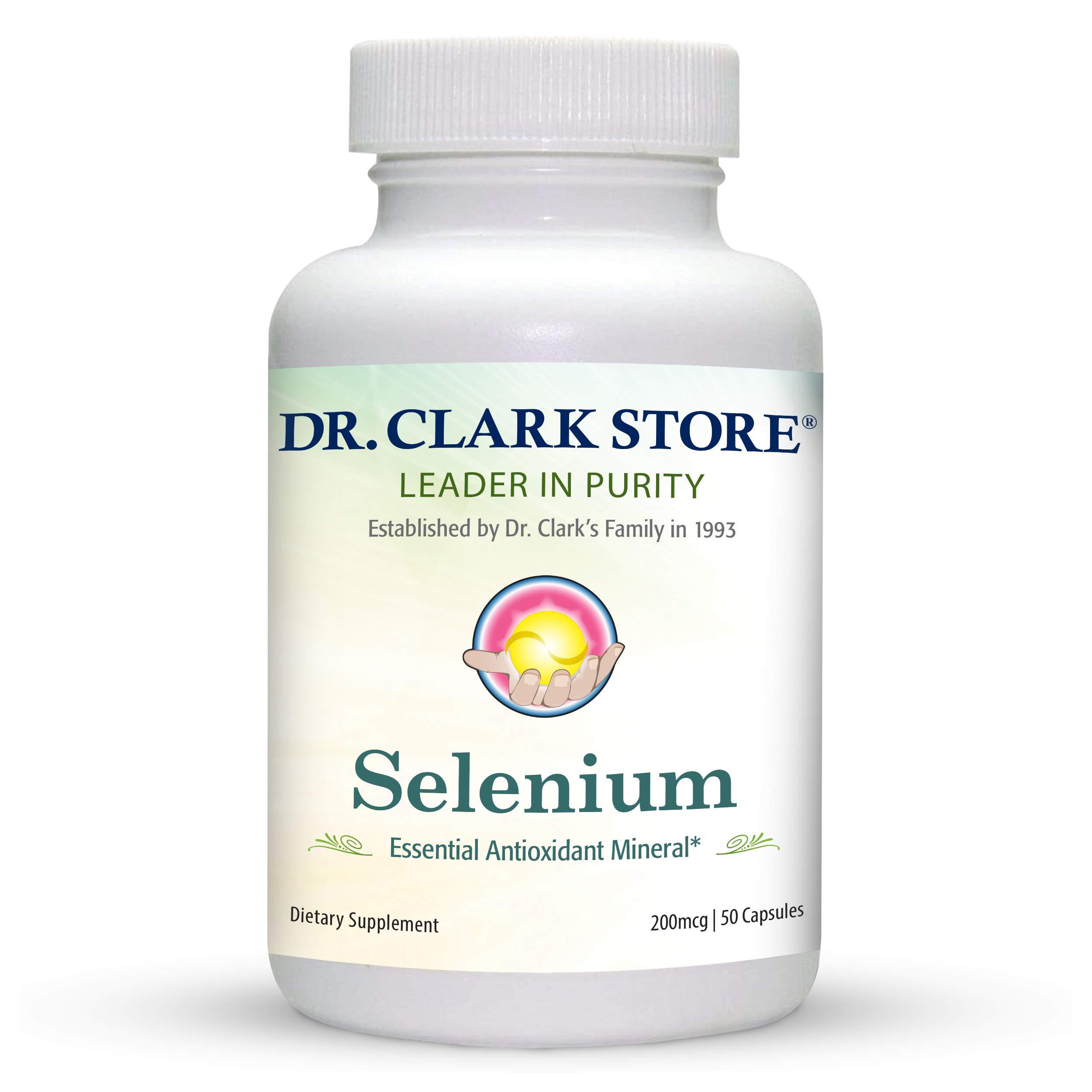 Dr. Clark Selenium Supplement 200 Mcg - Dietary Capsules with Essential Antioxidant Mineral - Improves Thyroid Function, Immune Support - 50 Capsules