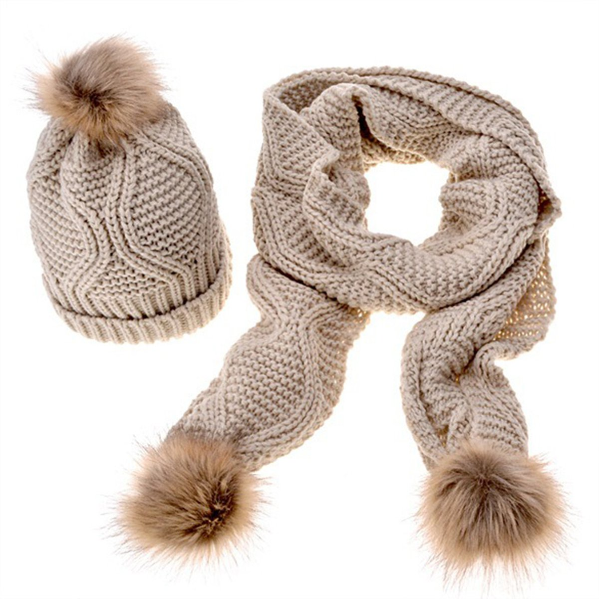 144196d73 MTTROLI Women's Sweater Hats Autumn Winter Warm Knitted Hat and Scarf Set