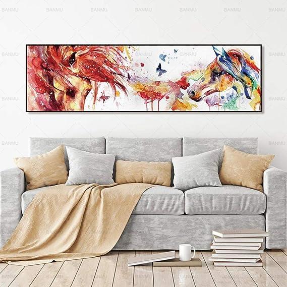 NIMCG Abstract Animal Line Mural Canvas Poster Art Print Horse ...