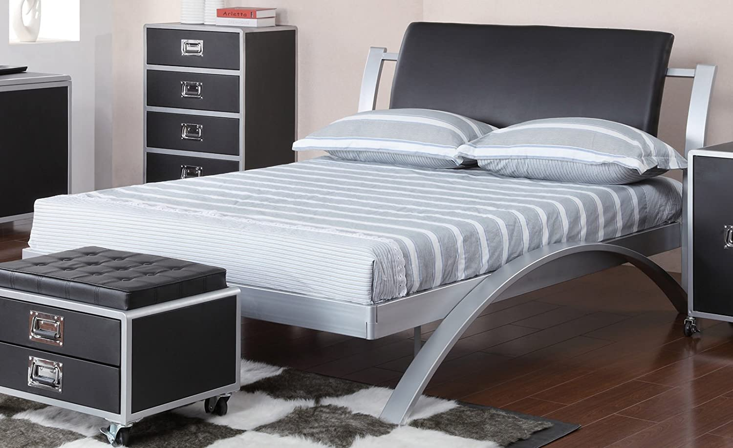 amazon com coaster home furnishings contemporary full bed silver