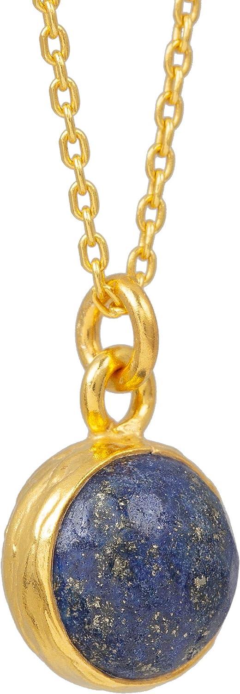 Sarah Bosman SAB-N04BLULAPg - Collar para Mujer con Colgante de Bola con Piedras Preciosas Azules, bañado en Oro y Plata, 9 mm de diámetro