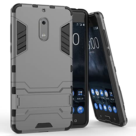 34955f0257 DMG Nokia 6 Back Cover, Sturdy Hybrid Kick Stand Armour: Amazon.in:  Electronics