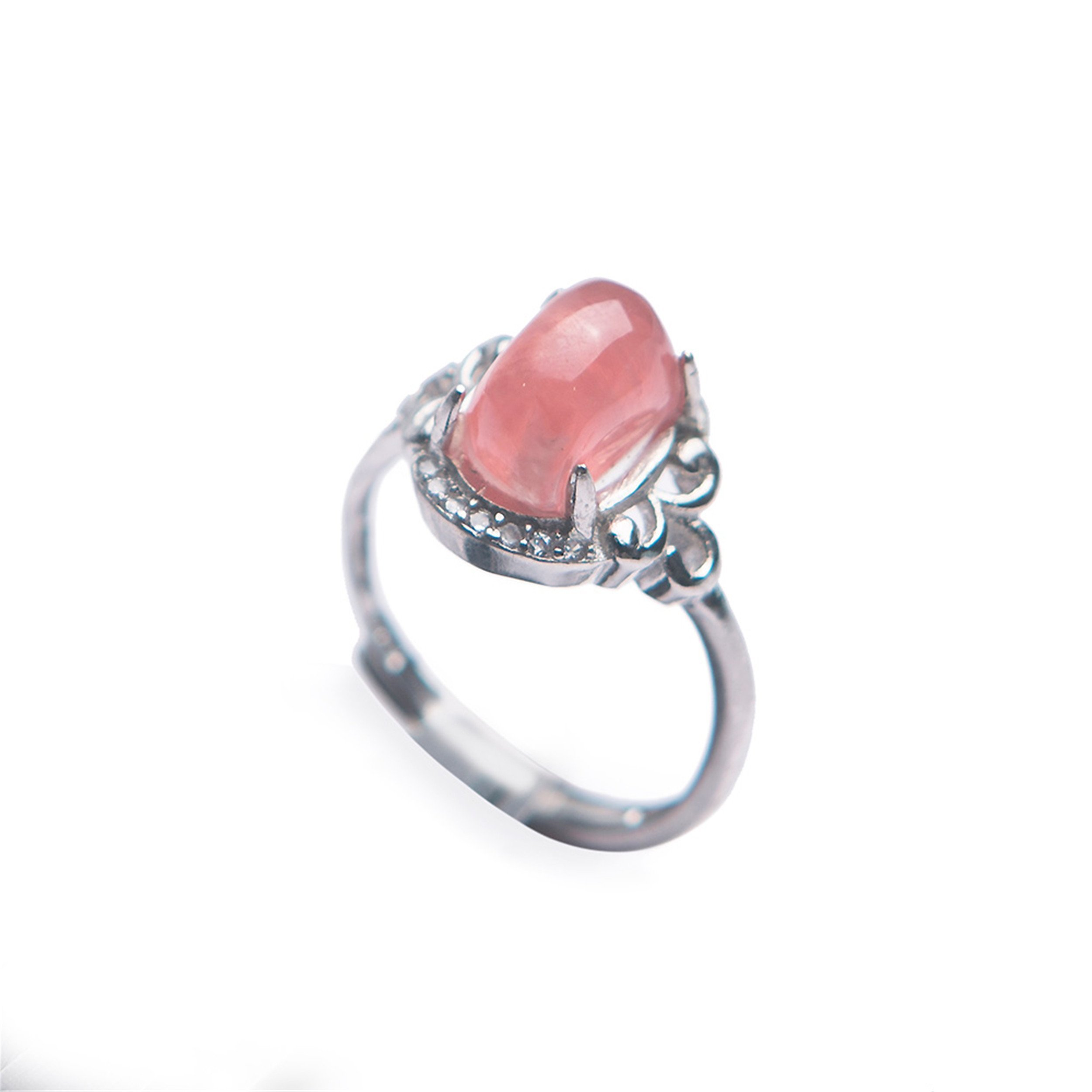LiZiFang Genuine Natural Rhodochrosite Gemstone Crystal Silver Love Wedding Ring Women Adustable Size