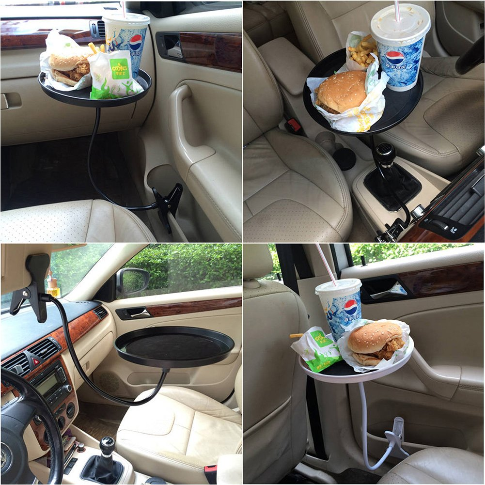Car Food Tray/Desk 360º Adjustable,Snack Tray,Drink Tray Non-Slip,Black by YingPing