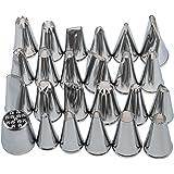AKORD - Ugelli, punte per siringa da pasticceria, per torte, pezzi decorativi, argento, confezione da 24