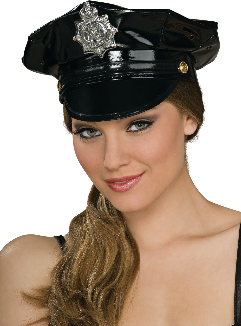 Rubie's Costume Co Black Vinyl Police Hat Costume