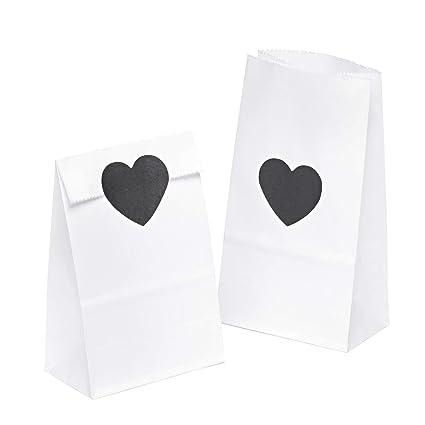 100 piezas Bolsas de Papel Regalo con ❤ pegatinas 9 x 16 x 5 cm - Bolsa Biodegradable Regalos Comunión para Invitados o para Guardar Comida, Semillas ...
