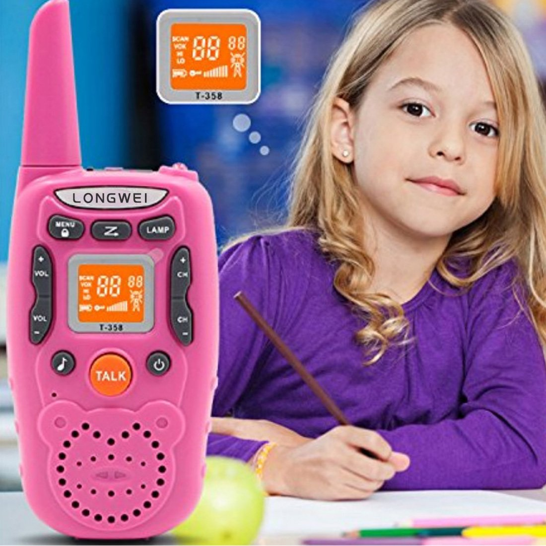 Kids Walkie Talkie Set 0.5W FRS/GMRS 22 Channel Two Way Radio Up to 3 Km Range for Children Camping Hiking(2PCS Pink) by longwei (Image #5)
