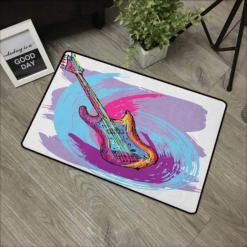 Buck Haggai Outdoor Indoor Entrance Doormat Music,Illustration of Electric Guitar Artistic Modern Musical Festive, Lavander Purple Aqua Magenta,for Entry, Garage, Patio, High Traffic Areas,20''x31'' by Buck Haggai
