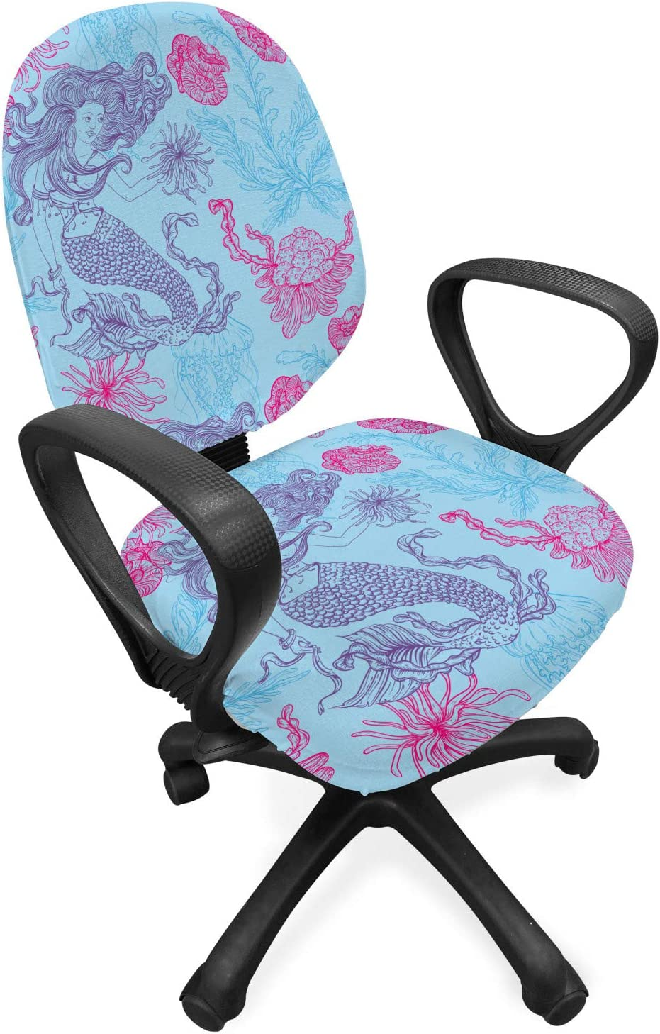 Lunarable Mermaid Office Chair Slipcover, Marine Plants Jellyfish and Seaweed Vintage Pattern Hand Drawn Flora, Protective Stretch Decorative Fabric Cover, Standard Size, Blue Magenta
