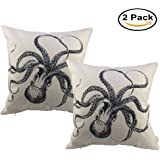 HOSL P10 2-Pack Cotton Linen Square Sofa Decorative Throw Pillow Case Cushion Cover Pillowcase ( 2x Octopus)