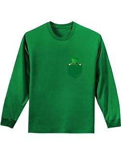 TooLoud Leprechaun Peeking Out of Faux Pocket Dark Muscle Shirt