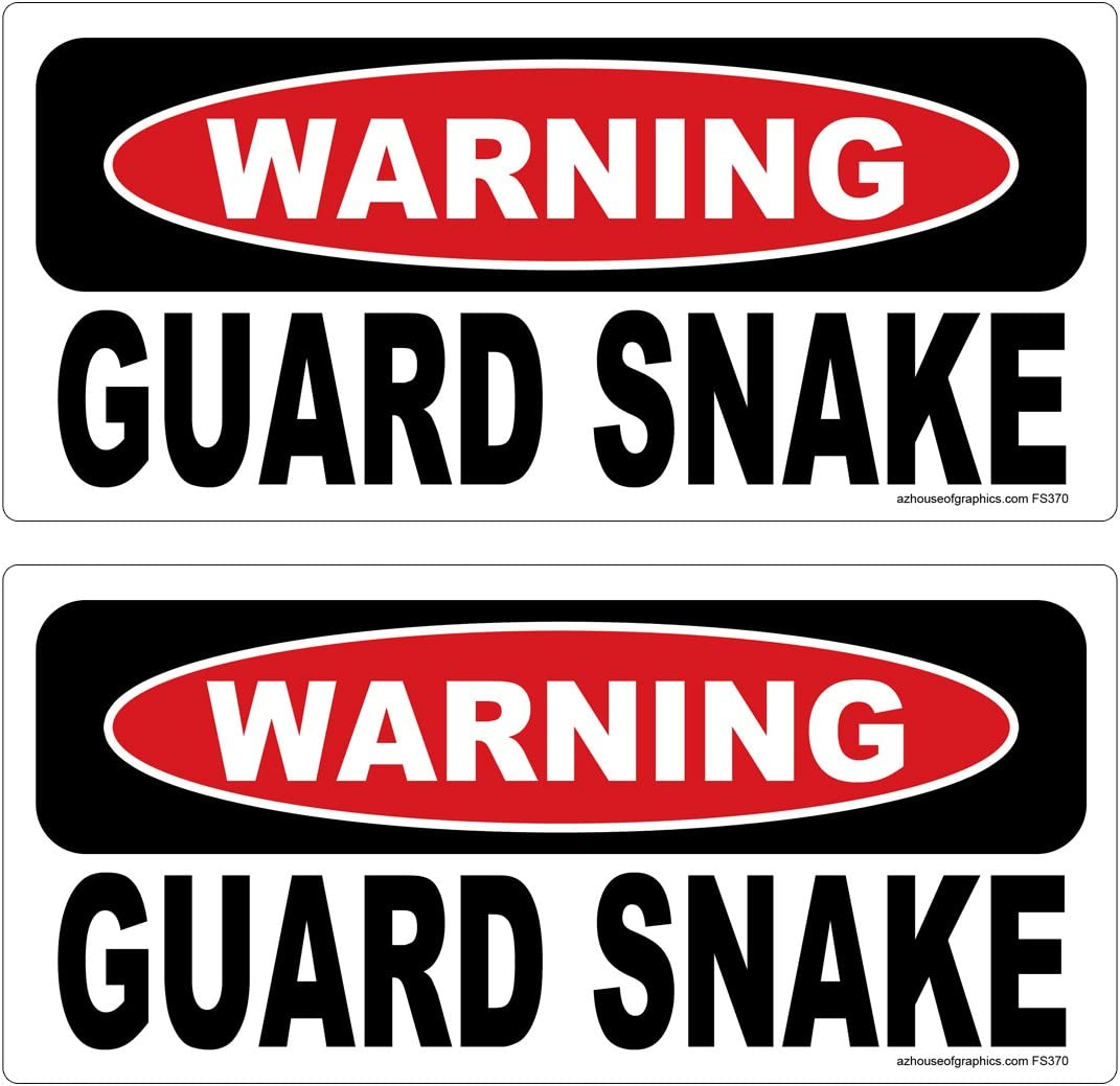 AZHG Warning Guard Snake 2 Pack Stickers Laminated #FS370 Vinyl Decal Car Truck Bumper Windshield Funny Home Defense Security pet