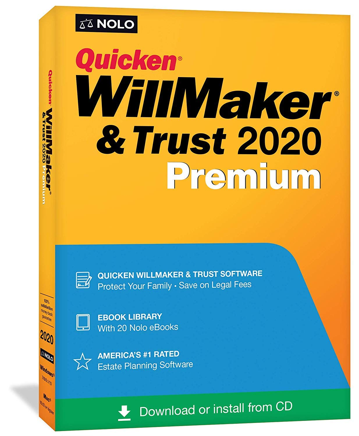 Quicken WillMaker & Trust 2020 Premium | Living Trust | Disc & Download Keycard | Windows & Mac | Nolo's eBook Library (Includes Get It Together + Special Needs Trust + More) by Quicken