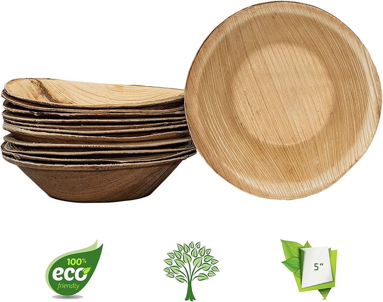 Sturdy /& Stylish I Pack of 25 I 100/% Biodegradable /& Natural Ecogreenware Disposable Palm Leaf Dessert Bowls 5 Inch Round I Premium Quality