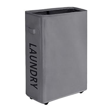 "ZERO JET LAG 22"" Rolling Slim Laundry Hamper Basket Bin on Wheels Tall Thin Dirty Clothes Washing Storage Basket Organizer Sorter Bedroom Bathroom Corner 15.4 ×7.8 ×22  (Grey)"